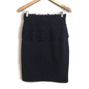 Anthropologie Navy Lace Floral Pencil Career Skirt